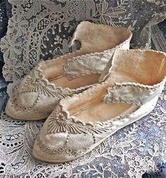 hand embroidered, antique silk baby shoes