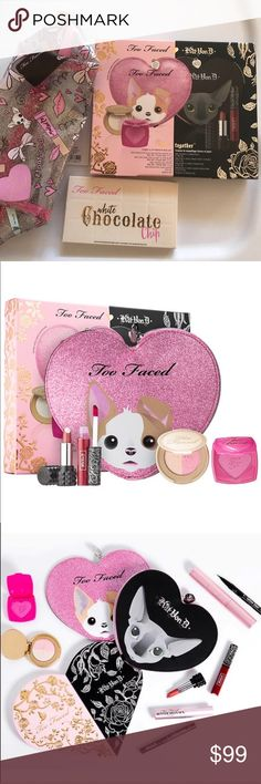 NIB TOO FACED KAT VON D LIMITED EDITION BAG BUNDLE NIB TOO FACED KAT VON D BUNDLE    LIMITED EDITION TOO FACED KAT VON D BAG PLUS TOO FACED KAT VON D DUO.  COMES WITH PRODUCTS SHOWN ALONG WITH A TWO SIDED COLLECTIBLE BAG. ONE SIDE IS THE PINK THE OTHER SIDE OF BAG IS TH BLACK. SO CUTE. LAST BUT NOT LEAST TOO FACED CHOCOLATE CHIP PALETTE.  ALL BNIB. Too Faced Makeup