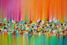 Pinturas originales en abstracto pintura paisaje lienzo por M.Schöneberg http://www.etsy.com/shop/MilaSchoeneberg?ref=si_shop    Título. Lluvia de flores  Tamaño: 28 x 28 x 0,75 profundo. (70 x 70 cm x 1, 8cm)  Medio: Acrílico sobre lienzo estirado galería-envuelto  Color dominante: Rosado, púrpura, clavel rosado, selectivo amarillo, turquesa, naranja, verde Ligth  Pintar los laterales son de color blanco  Listo para colgar  Se ha aplicado la capa final de barniz para protección  Firmado y…
