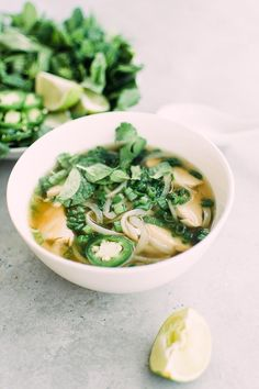 This delicate, golden chicken broth is richly fragrant with herbs and spices and makes a delicious soup, ladled over rice noodles and topped with fresh herbs, chiles and lime.