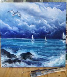 Купить Штиль перед грозой.Авторская картина маслом - море, море живопись, небо, облака