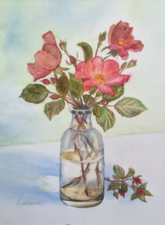 Watercolor wild roses by Eugenia Elepina