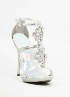 """Silver dress shoes with 4.5"""" heels and .75"""" platform (Style 200-21)"""