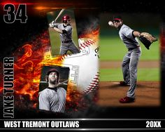 Baseball Photo Collage On Fire