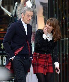 Peter Capaldi and Clara, note; kilt on Clara!