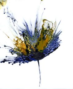 Flower Art Painting - Abstract Flower Navy Blue Yellow 1 by Catherine Jeltes