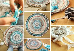 Do it Yourself - Aus alter Kleidung einen Teppich häkeln / stricken