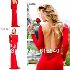 Best Selling Mermaid Scoop Floor Length Red Satin Long Sleeve Evening Dresses Crystal Backless Formal Evening Gowns