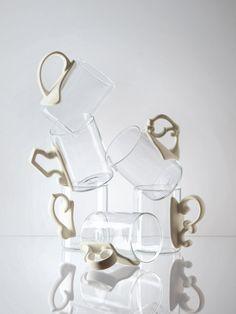 Era Set of 6 Glass Mugs w/ Porcelain Handles design by Seletti