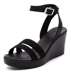 574cfce4b4da Crocs Leigh Wedge Black Crocs Leigh Wedge
