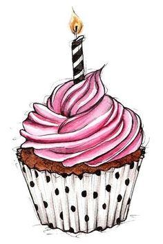 cupcake illustration for happy birthday Cupcake Kunst, Cupcake Art, Cupcake Rosa, Cupcake Clipart, Cupcake Ideas, Cupcake Vintage, Cupcake Drawing, Cupcake Painting, Ideias Diy