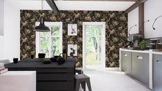 William Morris & Co Golden Lily Wallpaper Lily Wallpaper, Cole And Son Wallpaper, Room Of One's Own, Grey Room, Hall Bathroom, William Morris, White Wood, Black White, Flat Design