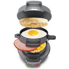 Hamilton Beach, Breakfast Electric Sandwich Maker Get you meal ready in 5 minutes! Cook delicious breakfast sandwiches in the comfort of your own home. Use your own fresh ingredients, including eg… Breakfast Sandwich Maker, Sandwich Toaster, Waffle Sandwich, Quick Sandwich, Grill Sandwich, Croissant Sandwich, Bacon Sandwich, Reuben Sandwich, Inspektor Gadget