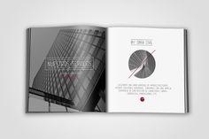 Diseño y maquetación de dossier-anuario de Graphitheque para empresa constructora. Detalle interior catálogo 1.
