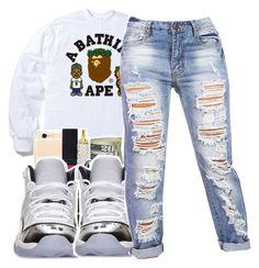 """Recognize///Partynextdoor✨"" by maiyaxbabyyy ❤ liked on Polyvore featuring A BATHING APE and Retrò"