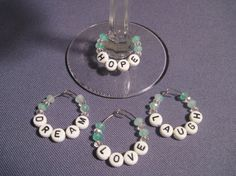 Shop for on Etsy, the place to express your creativity through the buying and selling of handmade and vintage goods. Clear Crystal, Crystal Beads, Crystals, Wine Ring, Diy Jewelry, Jewlery, Scrabble Crafts, Wine Tags, Painted Wine Glasses
