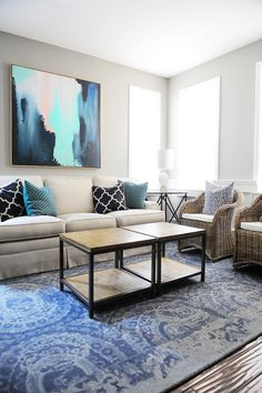 The living room is finally taking shape with the new artwork from HomeGoods and a beautiful new rug. More living room ideas including pillow fabrics and