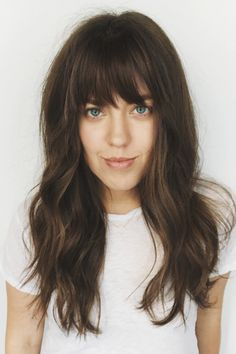 Latest Bob Hairstyles with Bangs Long Hair With Bangs And Layers, Haircuts For Long Hair With Bangs, Long Fringe Hairstyles, Curly Hair With Bangs, Long Curly Hair, Hairstyles With Bangs, Straight Hairstyles, Curly Hair Styles, Cool Hairstyles