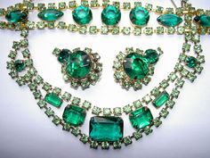 Vintage+Juliana+Green+Rhinestone+Necklace+Earrings+Weiss+Bracelet+Parure+Set+