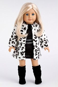 DreamWorld Collections Glamour Girl - Snow Leopard Faux Fur Coat with Black Velvet Dress with Black Boots - 18 Inch American Girl Doll Clothes : Winter Doll Clothing