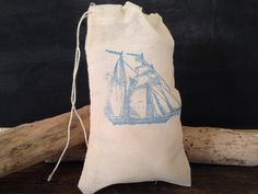 Ship Muslin Bag Nautical Wedding Party Favor Rustic Birthday Gift Bag Stamped Set of 10 on Etsy, $15.00