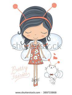fairy vector/girl vector/girl illustration/romantic girl/cute girl/T-shirt Graphics/cat vector/ animal pattern/princess girl/girl sticker/pretty girl/little girl/angel girl print/girl pattern - stock vector
