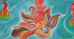 """""""Floating in the ocean as"""" acrylic on canvas 2,20 mts. X 1.30 mts. Approx (details in biro) FOR SALE. -"""