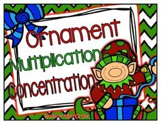 Students can practice their multiplication facts with this fun Holiday Math Concentration Game!  I love to put this game in a baggie as a math center for student use during my Guided Math time!    Included are 16 multiplication equation cards (red ornaments) with 16 product cards (green ornaments).