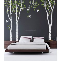 Happy Birds In The Birch Tree Forest Wall Decals...I believe I have just been inspired for the kid's room