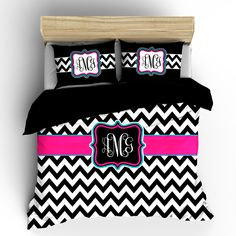 Chevron Custom Personalized Bedding -Available Tw-FQu-King Sizes - Color Black any accent colors by redbeauty on Etsy https://www.etsy.com/listing/122261942/chevron-custom-personalized-bedding