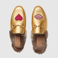 25a2ab39068 Gucci Hearts  amp  Lips- Princetown embroidered slipper Mocassins Mules