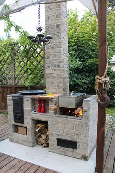 Outdoor Kitchen Ideas - On Do It Yourself Network, we share exterior cooking area basics, from appliances to kitchen counters. Simple Outdoor Kitchen, Rustic Outdoor Kitchens, Outdoor Oven, Backyard Kitchen, Summer Kitchen, Outdoor Kitchen Design, Kitchen On A Budget, Outdoor Cooking, Kitchen Ideas