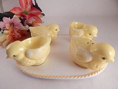 Salt Pepper Shakers Chicken Egg Cups Oval Tray Ceramic