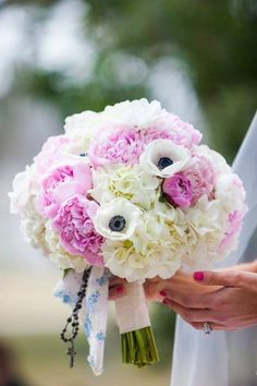 Spring wedding bouquet idea - white hydrangea bouquet with pink peonies and anemones {the budding tree} White Hydrangea Bouquet, Peonies Bouquet, Pink Bouquet, Floral Bouquets, Pink Peonies, Wedding Cakes With Flowers, Wedding Flower Arrangements, Bridal Flowers, Spring Wedding Bouquets