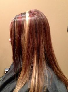 Red and blonde highlights with dark brown lowlights