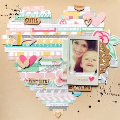 big heart scrapbooking layout using the Cienna collection from Elle's Studio
