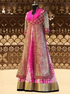 Pink And White Silk Wedding Gown With Zari Work