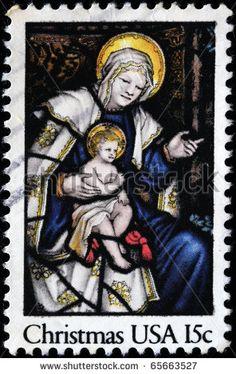 Madonna and Child US Christmas Stamp, c. 1985