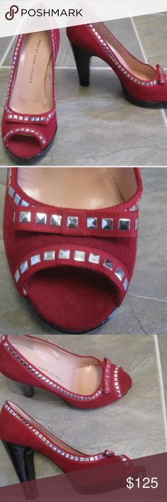 Marc by Marc Jacobs Red Stud Open Toe Heels NWOT Red Suede Bow Front Heels  Silver Tabs  Open Round Toe  Suede and Grosgrain Ribbon  Heel Height 4  Size 36.5 = 6   Please let me know if you have any questions.  Thank you for looking!!!!!!! Marc by Marc Jacobs Shoes Heels