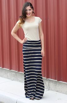 af3d24ee11 Thick and Thin Striped Maxi Skirt - Navy Blue and Tan-loving this!