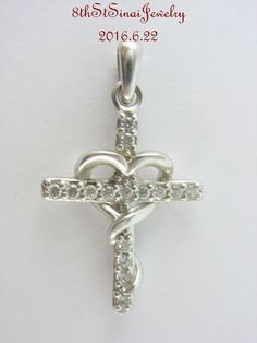 Estate Sterling Silver 925 Cubic Zirconia Cross Wrapped with a Heart Pendant #RJ #Pendant