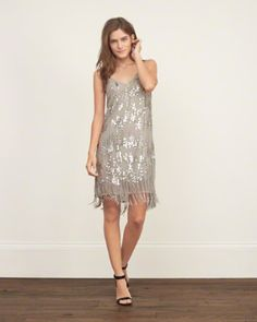 A&F From Past to Present // Sequin Fringe Slip Dress: Embellished with sequin and beaded fringe at hem, featuring a V neckline, adjustable skinny straps and full lining // abercrombie.com