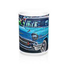 1957 Chevrolet Bel Air Custom Car Tri-Five Hotrod Mug 15oz, Hotrod Coffee Mug, Coffee Mug for Guys