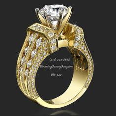 A very unique and impressive diamond engagement ring handmade in any metal you choose.  Total diamond carat weight without center diamond = 2.56 ctw.  Recommended for larger center diamond sizes of 1.50 carat or bigger.  Can be made to accommodate any shape center stone.  BloomingBeautyRing.com  (213) 222-8868