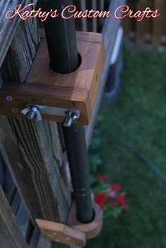 The perfect space saver for your deck. Installed on the outside of your deck post. Patio Umbrella Stand, Umbrella Holder, Outdoor Umbrella, Sun Umbrella, Deck Shade, Outdoor Deck Decorating, Pool Umbrellas, Deck Posts, Diy Deck