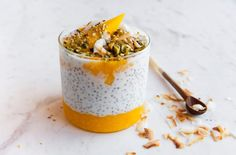 Mango, nut and coconut milk chai seed pudding - Buy this stock photo and explore similar images at Adobe Stock Chai Seed Pudding, Milk Pudding Recipe, Pudding Recipes, Coconut Pudding, High Protein Breakfast, Nutritious Breakfast, Breakfast On The Go, Healthy Breakfasts, Breakfast Meals