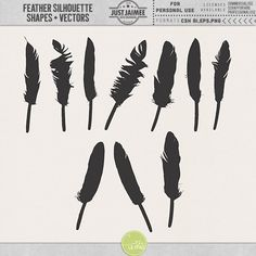 Feather Silhouette Shapes by Just Jaimee Designs! #feathers #vector #shapes