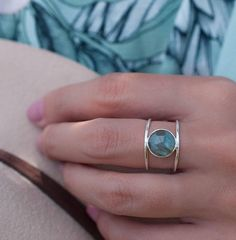 Labradorite Ring  Sterling Silver Ring  Statement Ring