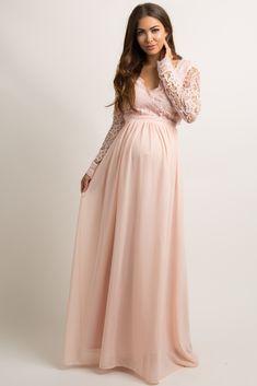 Light Pink Scalloped Crochet Chiffon Maternity Evening Gown