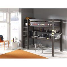 Lit mezzanine 90x200 avec bureau pin Armance & Faustin taupe